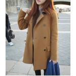 L สีน้ำตาล CAMEL : เสื้อโค้ทกันหนาว กระดุม 2 แถว สไตล์เกาหลี พร้อมส่ง