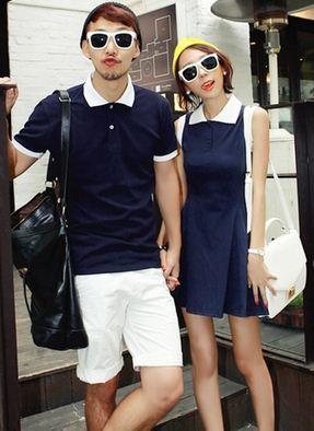 ชุดคู่รักแฟชั่นสไตล์เกาหลี พร้อมส่ง ญLชXL ผู้ชายเป็นเสื้อโปโล+ผู้หญิงเป็นเดรสสั้นเเขนกุด สีกรมค่ะ (ราคา/คู่)
