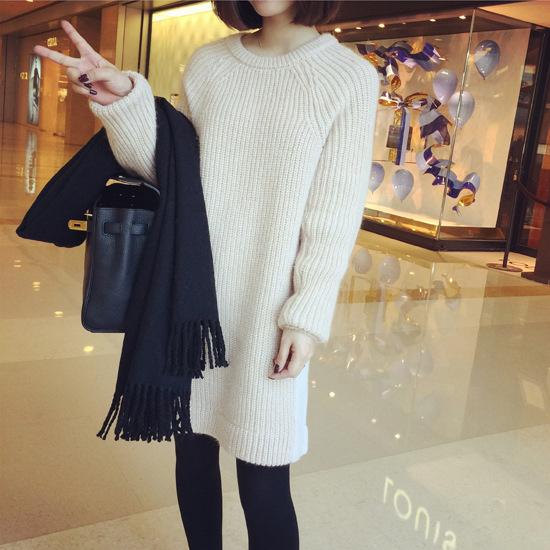 ยาว 26 นิ้ว Sweater เสื้อไหมพรมถักตัวยาว สีครีม ใส่ตัวเดี๋ยวได้เลยเก๋ๆ ยืดได้เยอะ