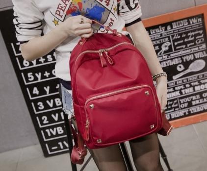 กระเป๋าเป้ ใบเล็ก ผ้า PU กันน้ำ สีแดง พร้อมส่ง