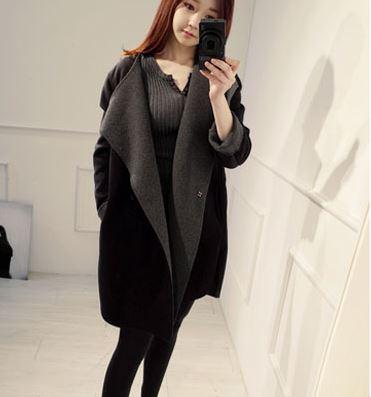 เสื้อโค้ทกันหนาว สีดำเทา ทรงยาว ผ่าข้าง ด้านนออกเป็นผ้าวูลผสมสักกะหลาด ขอบด้านในเป็นผ้าสำลี บุซับในกันลม พร้อมส่งจ้า