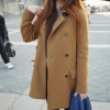 XL สีน้ำตาล CAMEL : เสื้อโค้ทกันหนาว กระดุม 2 แถว สไตล์เกาหลี พร้อมส่ง