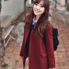 L: โค้ทกันหนาว สไตล์เกาหลี สีแดงหม่น พร้อมส่ง