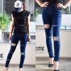 Skinny ripped jeans กางเกงยีนส์ขายาวขาด ทรงเข้ารูปเป๊ะ ใส่แล้วผอม ทรงสวยเว่อ!!