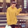 เสื้อไหมพรมตัวโคล่ง Sweater สีเหลือง คอตั้ง ยืดได้เยอะ จะใส่เดี่ยวไหรือใส่โค้ทคลุมก็สวยจ้า