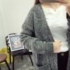 สีเทาเข้ม ยาว 32 นิ้ว : เสื้อคลุมไหมพรม กันหนาว แต่งลายถักเป็นช่องด้านหลัง พร้อมส่ง