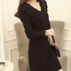 สีดำ : เสื้อไหมพรม ตัวยาว ผ้าร่อง คอวี พร้อมส่ง