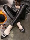 Legging เลกกิ้งหนังเนื้อดี อุ่น แต่งลูกไม้ที่ชายกางเกง เนื้อนิ่มและยืดได้เยอะ