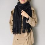 ผ้าพันคอกันหนาว ผ้าคลุมไหล่ วินเทจ สีดำ เข้าได้กับทุกชุด พร้อมส่ง