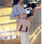 กระเป๋าเป้ สไตล์เกาหลี ลายปัก ทรงน่ารัก สีชมพู หนังนิ่ม พร้อมส่ง