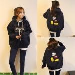 เสื้อกันหนาวฮู้ดดี้ Mickey Mouse มิกกี้เมาส์ สีกรมท่า แฟชั่นเกาหลี น่ารักมากจ้า พร้อมส่ง