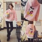 เสื้อกันหนาวฮู้ดดี้ Mickey Mouse มิกกี้เมาส์ สีชมพูอ่อน ผ้าหนานุ่ม อุ่น แฟชั่นเกาหลี น่ารักมากจ้า พร้อมส่ง
