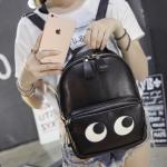 กระเป๋าเป้ หนังสีดำ แต่งลูกตาน่ารัก พร้อมส่งเลยค่ะ
