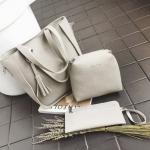 (สีเทา,สีดำ)สุดคุ้ม ซื้อ 1 ได้ถึง 3 กระเป๋าสะพายหนังทรงสวย + กระเป๋าใบเล็กอีก 2 ใบ