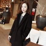 เสื้อโค้ทกันหนาว สไตล์เกาหลี ทรงสวย Classic ผ้าสำลีเนื้อเบา บุซับในกันลม สีดำ พร้อมส่ง