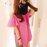 เสื้อแฟชั่นตัวยาว พร้อมส่ง สีชมพู ผ้าฝ้าย เว้าไหล่น่ารักมาก ๆ