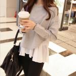 set เสื้อแขนยาว + เสื้อสายเดี๋ยวสีขาว แยกชิ้น เสื้อตัวนอกสีเทาคอกลมแขนยาวผ้าคอตตอนเนื้อดี พร้อมส่งจ้า