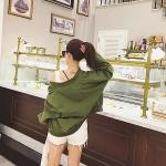 เสื้อคลุมสไตล์เกาหลี สีเขียวทหาร ทรงสวย ผ้าเนื้อด้าน ไม่มีซับใน ใส่คลุมกำลังดี เท่ๆ