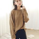 Sweater เสื้อสเวทเตอร์แขนยาว สีน้ำตาล ทรงสวย จะใส่เดี่ยวไหรือใส่โค้ทคลุมก็เริ่ด