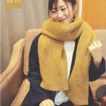 ผ้าพันคอ ไหมพรม เกาหลี สีเหลืองแซม พร้อมส่ง