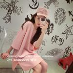 เสื้อตัวยาว/ mini dress สุดน่ารัก ผ้ามีลายในตัว สีชมพูโอรส พร้อมส่ง