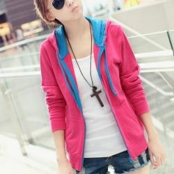 พร้อมส่ง - pink เสื้อคลุมแฟชั่นเกาหลี ลุคSport girl สุดน่ารัก มีฮูด