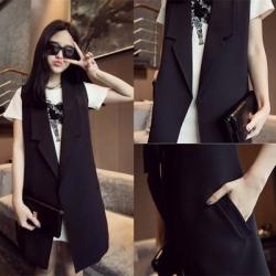 สูทคลุมตัวยาว แขนกุด สีดำ ทรงแบบเกาหลีมากๆ ผ้าเนื้อเบา ใส่คลุมได้ลุคเก๋ๆ (ผ้าแบบสูท)