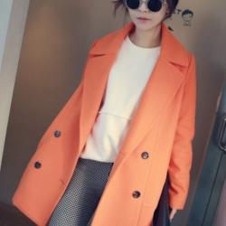 CLASSIC ORANGE COAT [ เสื้อโค้ท กันหนาว สีส้ม ] พร้อมส่ง