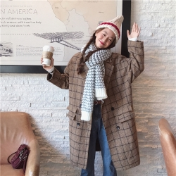 เสื้อคลุมกันหนาว สไตล์ญี่ปุ่น ผ้ากระสอบลายสก๊อต บุซับในกันลม ใครชอบแนวนี้ต้องรีบจัดเลยจ้า