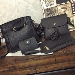 ซื้อ 1 ได้ถึง 4 กระเป๋าสะพายหนังทรงสวย + กระเป๋าใบเล็ก สีดำ พร้อมส่ง