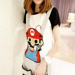 ชุดเอี๊ยม สีเทา jumpsuit Super Mario เอวยืด พร้อมสายเอี๊ยมแบบถอดได้ น่ารักมากๆ