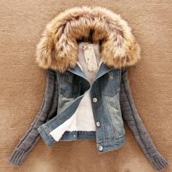 เสื้อกันหนาว ทรงเท่ๆ สำหรับสาวไซส์เล็ก ช่วงตัวเป็นผ้ายีนส์ ด้านในบุขนอุ่นมาก ช่วงแขนเป็นไหมพรมทอเนื้อดี ช่วงขอแต่ขนเฟลอ ถอดออกได้ (ขนฟูหนาประมาณ 60% ของในรูป)