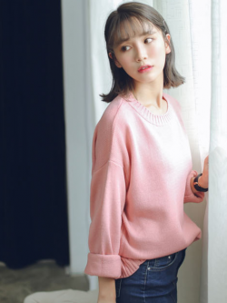 Sweater เสื้อสเวทเตอร์แขนยาว สีชมพู ทรงสวย จะใส่เดี่ยวไหรือใส่โค้ทคลุมก็เริ่ด
