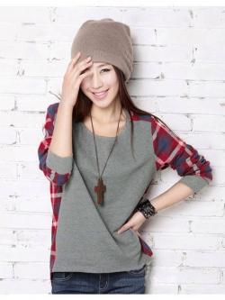 เสื้อผ้าแฟชั่นสไตส์เกาหลี เสื้อแขนยาว พร้อมส่ง ด้านหน้าสีเทา ด้านหลังแต่งลายสก็อตสีโทนแดงน้ำเงิน