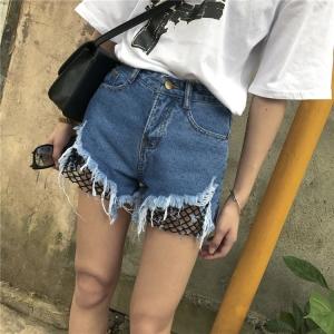 กางเกงยีนส์ขาสั้น แต่งชายกางเกงขาดเห็นต่าขายสีดำด้านใน Sexy พร้อมส่ง