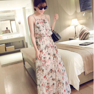 Maxi Dress เดรสยาว ทรงสายเดี่ยว เนื้อผ้าชีฟองลายดอก สีครีม เก๋ๆ พร้อมส่งน๊า