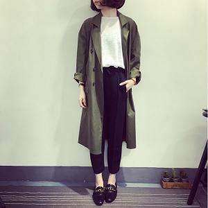 เสื้อคลุมสไตล์เกาหลี สีเขียวทหาร ทรงยาว ผ้าเนื้อด้าน ไม่หนา ใส่คลุมกำลังดี เท่ๆ พร้อมส่งเลยจ้า