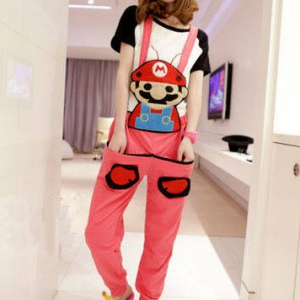 ชุดเอี๊ยม สีชมพู jumpsuit Super Mario เอวยืด พร้อมสายเอี๊ยมแบบถอดได้ น่ารักมากๆ