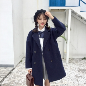 เสื้อโค้ทกันหนาว สไตล์นักเรียนเกาหลี ผ้าวูลผสมเนื้อดี เนื้อกำลังดีเป็นทรงไม่หนัก พร้อมส่ง