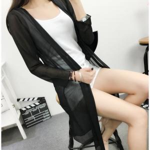 เสื้อคลุมชีฟองสีดำ ผ้าเป็นลายริ้วในตัวเนื้อดี เก๋ไก๋ดูดี ใส่ได้หลายแบบ พร้อมส่งจ้า